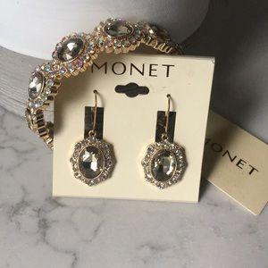 Monet earrings and bracelet Gold Tone Rhinestone